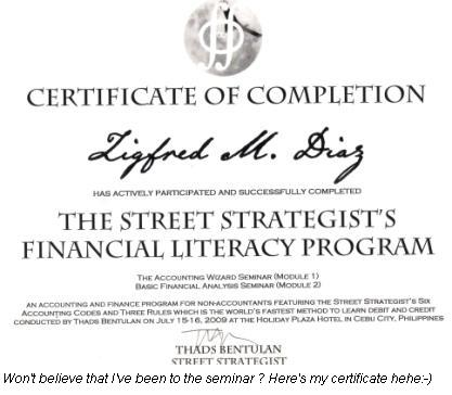 My Street strategists seminar certifacate